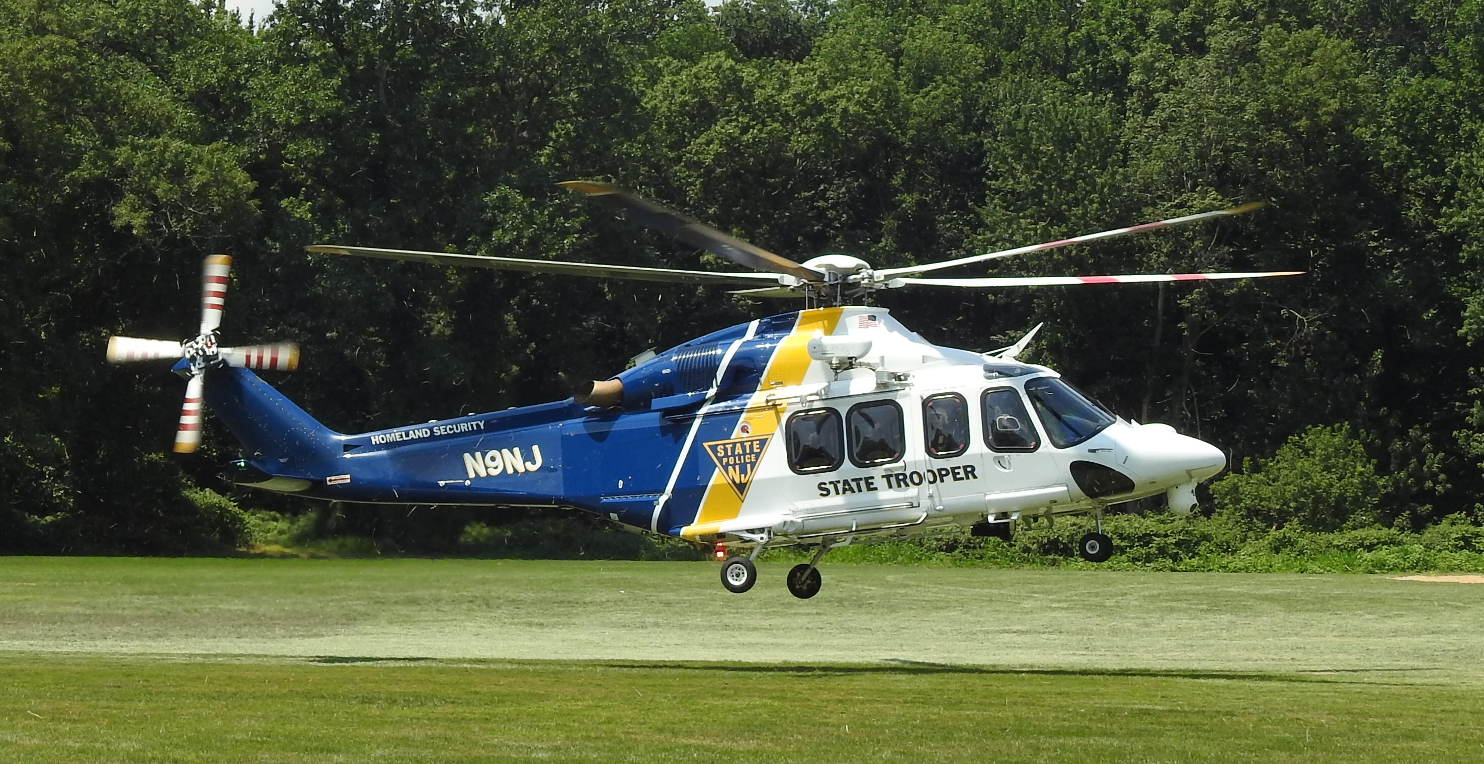 New Jersey State Police helicopter lands at Meisel Field